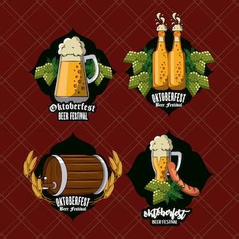 Set of oktober festival emblems