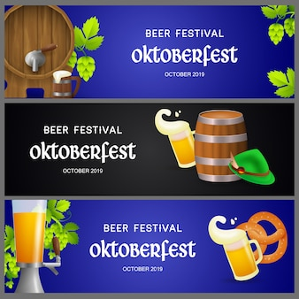 Set of oktoberfest banners with beer production elements