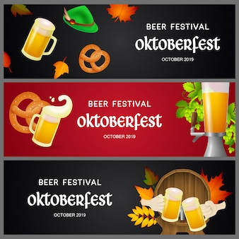 Set of oktoberfest beer festival banners