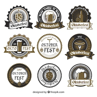 Set of oktoberfest stickers in grayish brown colour