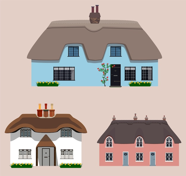 Set of old english thatches cottages.