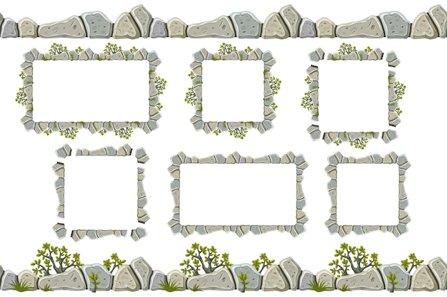 Set of old gray rock border, frames with grass.