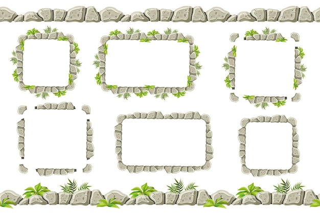 Set of old gray rock border frames with grass Premium Vector