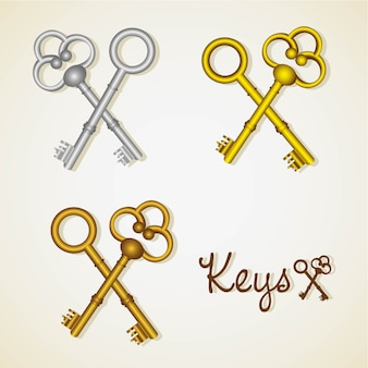 Set of old keys gold and silver