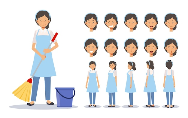 Set of old lady is a housekeeper, cleaner in various action. emotion expression. front, side, back view animated