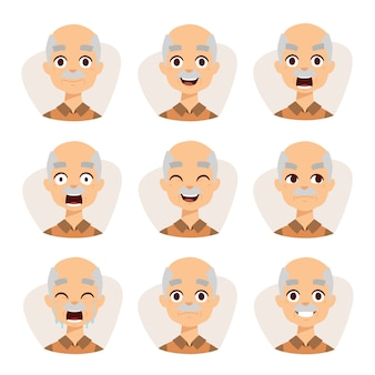 Set of an old man emotions simple flat design illustration grandpa .