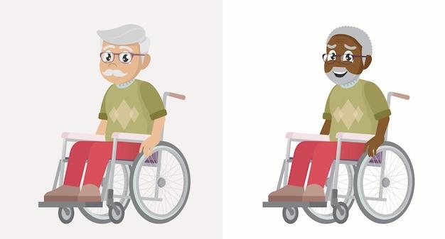Set old man on wheelchair on white background