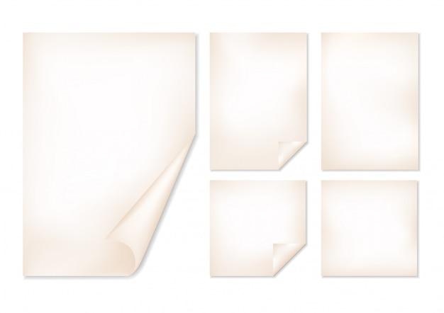 Set of old paper sheets.
