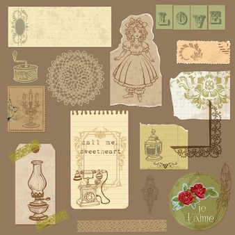 Set of old paper with vintage goods for your design and scrapbook