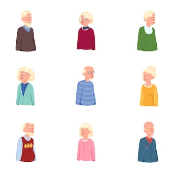 Set of old pensioner avatar woman and man person
