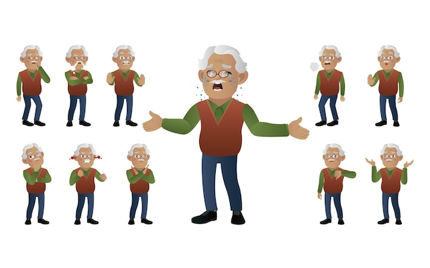 Set of old people with different emotion