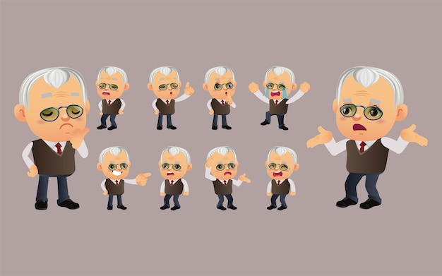 Set of old person with different emotions