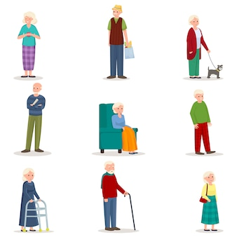 Set of old senior woman and man in different action