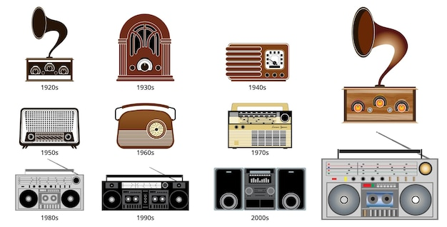 Set of old vintage radio transistor time line in flat style eps vector