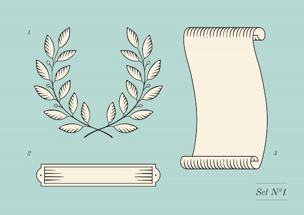 Set of old vintage ribbon banner and laurel wreath in engraving style.