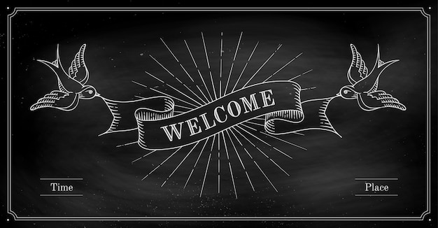 Set of old vintage ribbon banners with word welcome and birds in engraving style on a black chalkboard