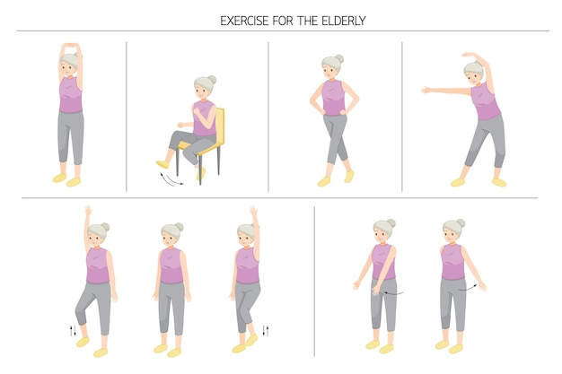 Set of old woman standing and moving body for good health, exercise for healthy heart