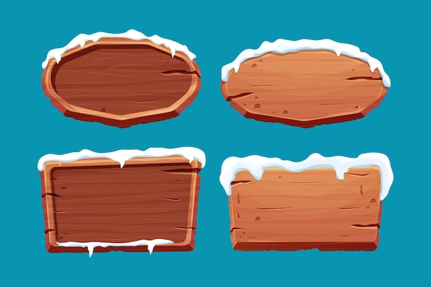 漫画のスタイルで雪と古い木製の空白の看板を設定します。