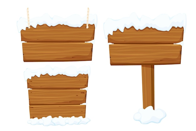 Set old wooden blank signboard with snow rope in cartoon style
