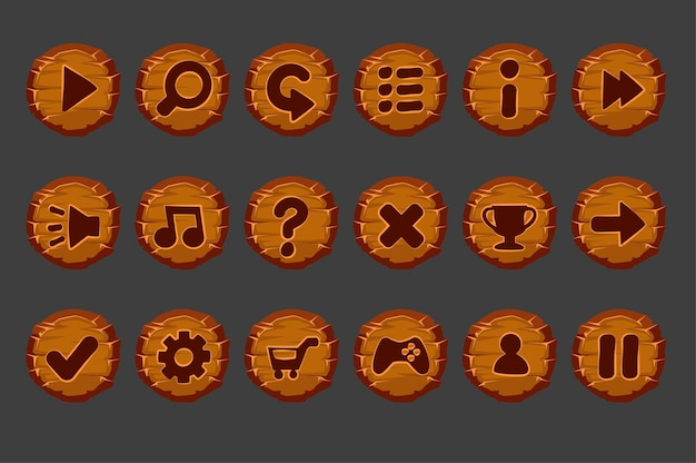Set of old wooden buttons for the game menu.
