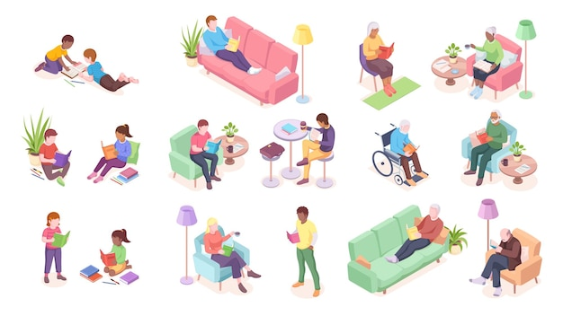 Set of old and young adult people reading children sitting and male lying on sofa disabled man at