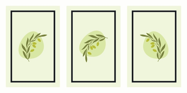 Set of olive branch art posters