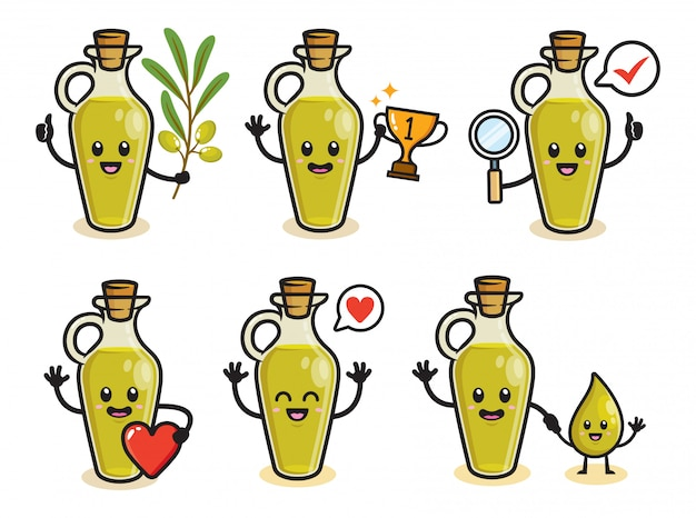Set of olive oil character