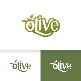 Set of an olive oil logo template