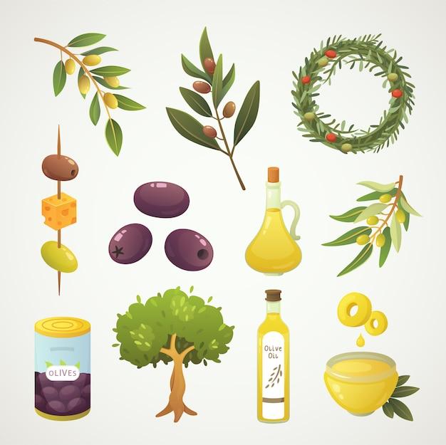 올리브 열매를 설정하십시오. 만화 스타일의 올리브 오일 병, 분기, 나무와 로즈마리 화환 그림.