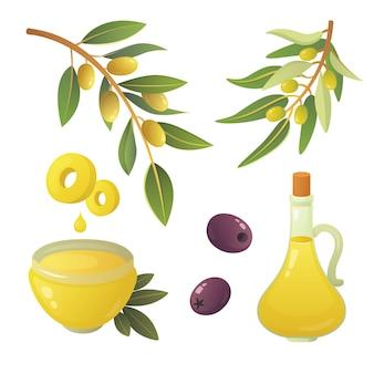 オリーブの実をセットします。オリーブオイルのボトル、枝、木、ローズマリーの花輪のイラスト。