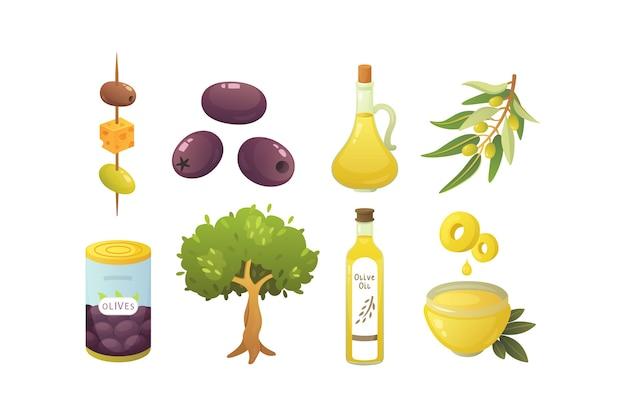オリーブの実をセットします。オリーブオイルのボトル、木の枝のイラスト。