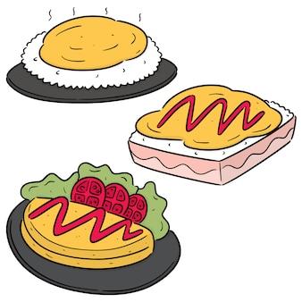 Set of omelette rice