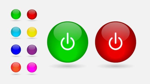 オンとオフのボタンを設定するカラフルな光沢のあるスタイル