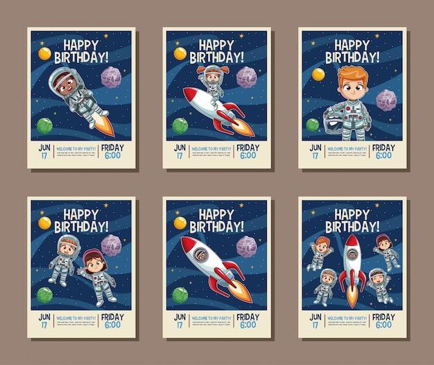誕生日の子供パーティー招待状のカードにセット