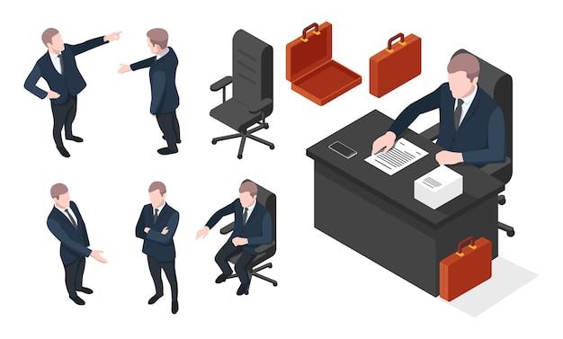 Набор на изометрический бизнесмен в различных позах, бизнесмен сидит на стуле