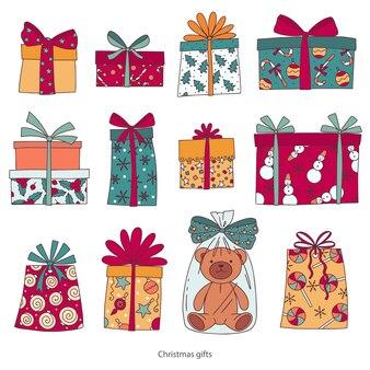 クリスマスプレゼントギフトボックステディベアをテーマに設定