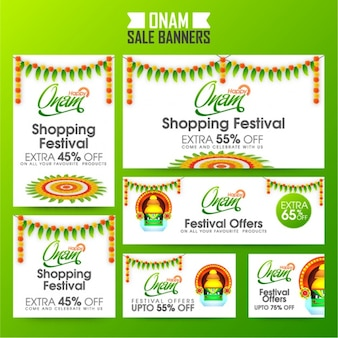 Set of onam banners with great offers