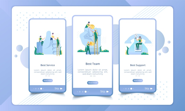 Set of onboarding screen best delivery service, team and support