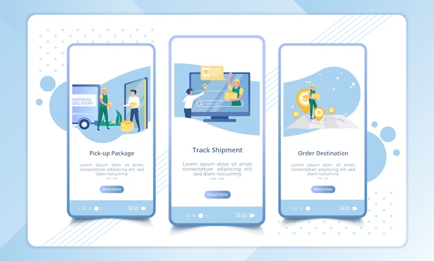 Set of onboarding screen for delivery service process