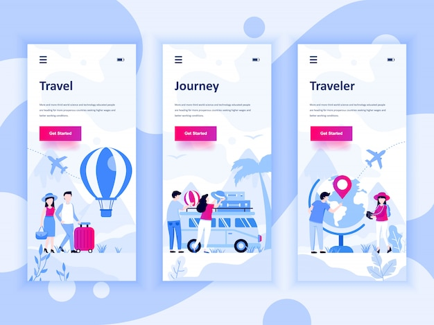 Set of onboarding screens user interface kit template