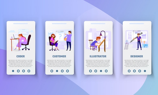 Set of onboarding screens user interface