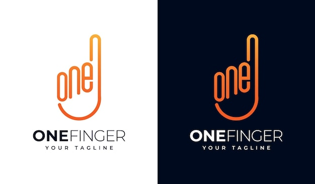Set of one finger or 1 finger  logo creative design for all uses