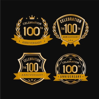 Set of one hundred anniversary labels