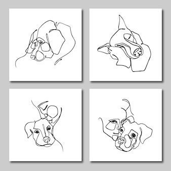 Set of one line illustrations of people and their pets