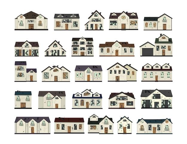 一階建ての老朽化した家屋を改修前に設置する。漫画のスタイル。図。