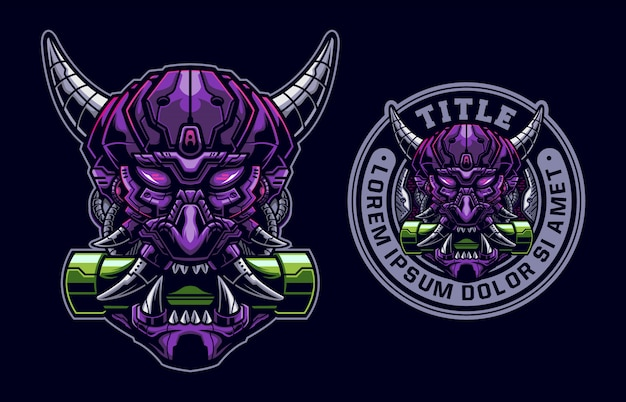 Set of oni mask mecha logo mascot