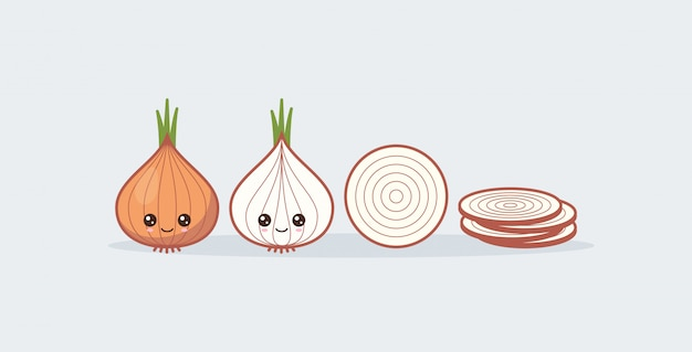 Set onion. cute kawaii smiling food.