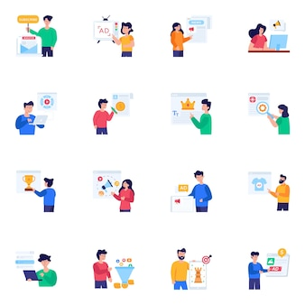 Set of online advertising flat character icons