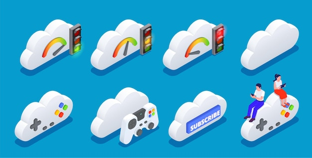 Set of online clouds and gamepads