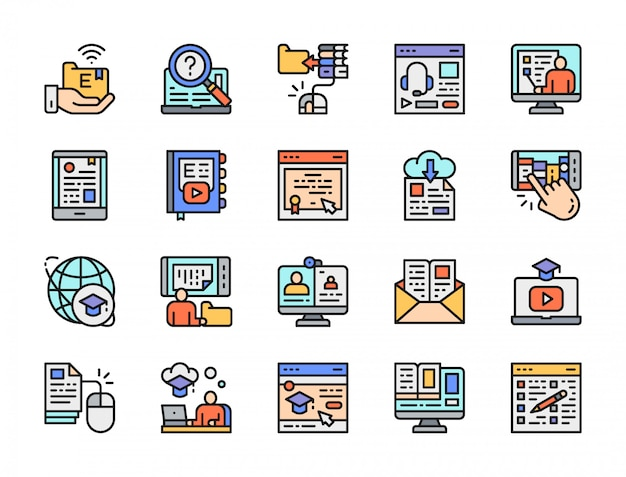 Set of online education color line icons. library, certificate, podcast and more